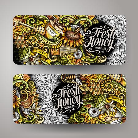 Cartoon cute colorful vector hand drawn doodles Honey corporate identity