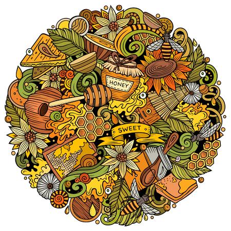 Cartoon vector doodles Honey illustration Ilustração