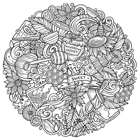 Cartoon vector doodles Honey illustration Illustration