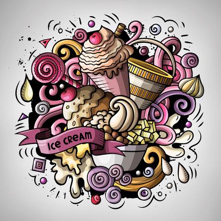 Cartoon cute doodles hand drawn Ice cream illustration Ilustração