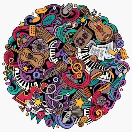 Cartoon vector doodles Music illustration Vectores