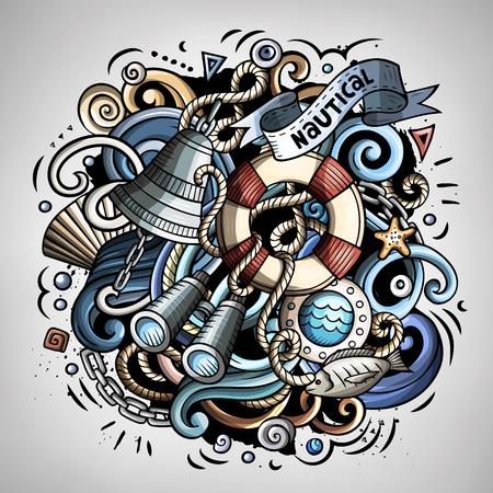 Nautische cartoon vector doodle illustratie Stock Illustratie