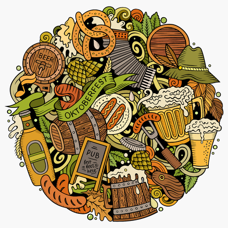 Cartoon vector doodles Beer fest illustration