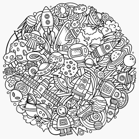 Cartoon vector doodles ruimte afbeelding Stock Illustratie
