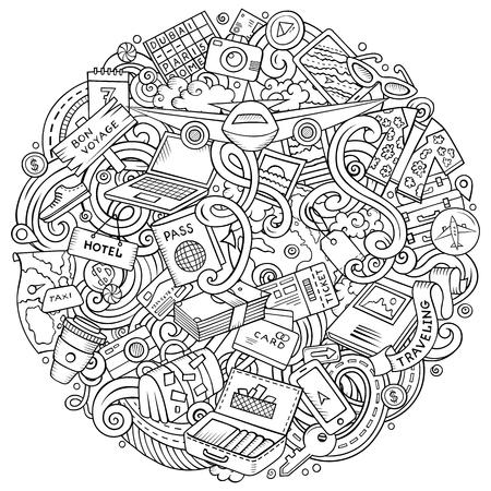 Cartoon vector doodles Travel illustration Illustration