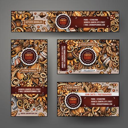 Cartoon colorful vector doodles Autumn season corporate identity set. Template design of banners, id cards, flyer Ilustração