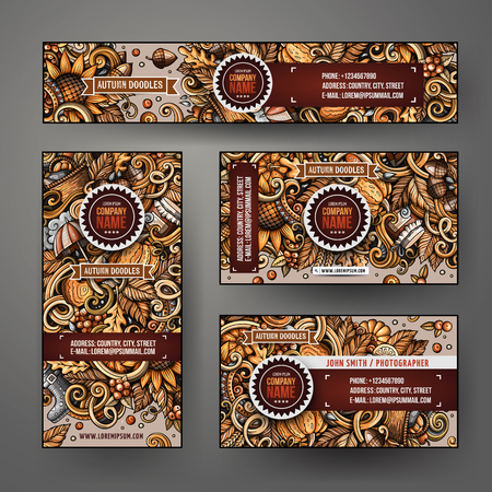 Cartoon colorful vector doodles Autumn season corporate identity set. Template design of banners, id cards, flyer Illustration