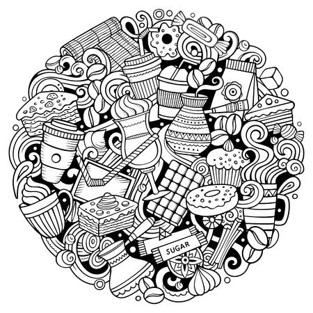 Cartoon vector doodles Coffe winkel illustratie. Zeer fijne tekeningen, gedetailleerd, met veel objecten achtergrond. Alle objecten scheiden. Outline Cafe grappig rond beeld