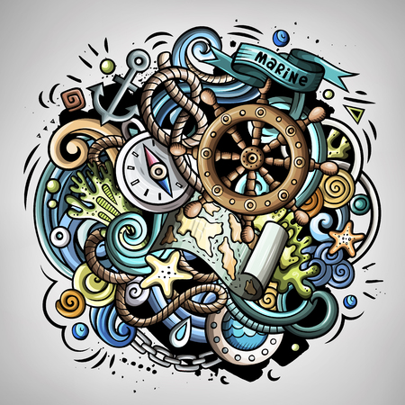 Nautical 3d cartoon vector doodle illustration. Colorful detailed design with lot of objects and symbols. All elements separate