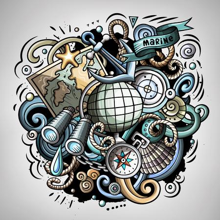 Nautische 3d cartoon vector doodle illustratie. Kleurrijk gedetailleerd ontwerp met veel objecten en symbolen. Alle elementen scheiden