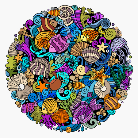 Cartoon vector doodles Underwater world illustration. Colorful, detailed, with lots of objects background. All objects separate. Bright colors sea life funny round picture