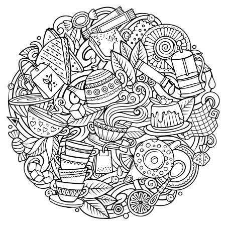 만화 벡터 낙서 차 그림입니다. 라인 아트, 자세한, 많은 개체 배경. 모든 개체가 분리됩니다. Sketchy Cafe funny round 사진 일러스트