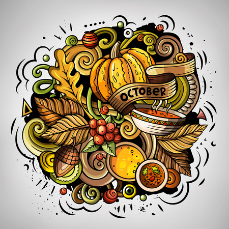 Cartoon vector doodles Autumn illustration. Colorful detailed, with lots of objects background. All items are separate. Bright colors fall funny picture