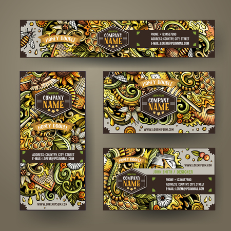 Cartoon colorful vector doodles Honey corporate identity set. Template design of banners, id cards, flyer Illustration