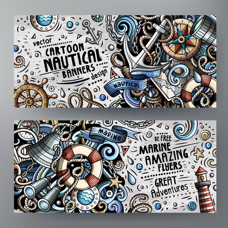 Cartoon cute colorful vector doodles Nautical banners