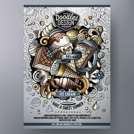 Cartoon hand getekende krabbels Ice cream poster design template Stock Illustratie