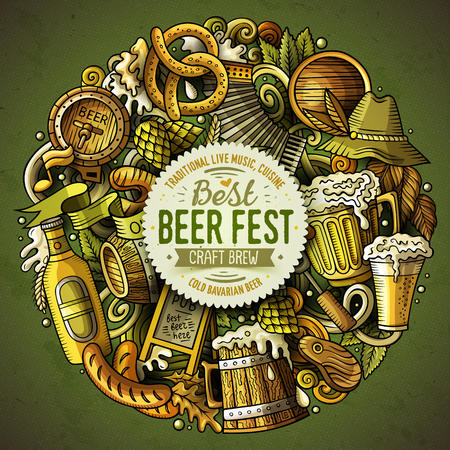 Cartoon vector doodles Beer fest illustration