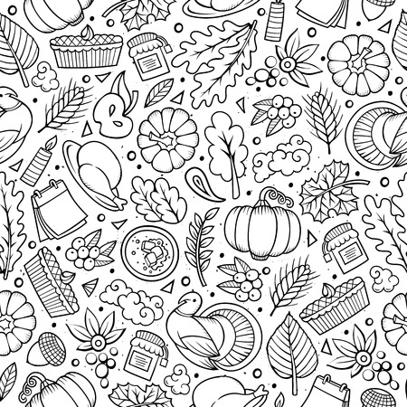 Cartoon cute hand drawn Thanksgiving seamless pattern