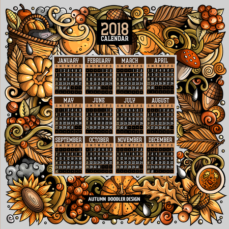 Cartoon doodles Autumn 2018 year calendar template. English, Sunday start Illustration