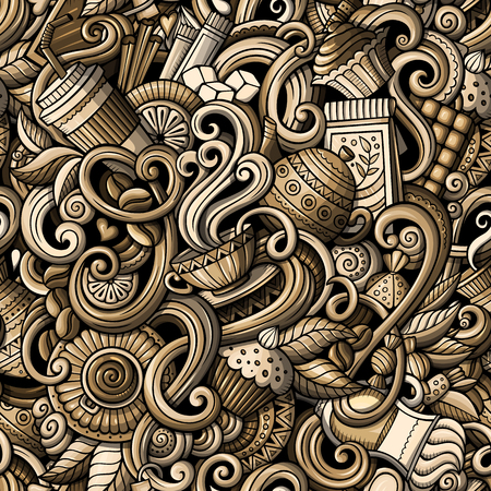 Cartoon hand-drawn doodles on the subject of cafe, coffee shop theme seamless pattern. detailed, with lots of objects vector background Reklamní fotografie - 84821487