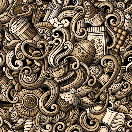 Cartoon hand getekende doodles op het onderwerp van cafe, coffeeshop thema naadloos patroon. gedetailleerd, met veel objecten vector achtergrond Vector Illustratie