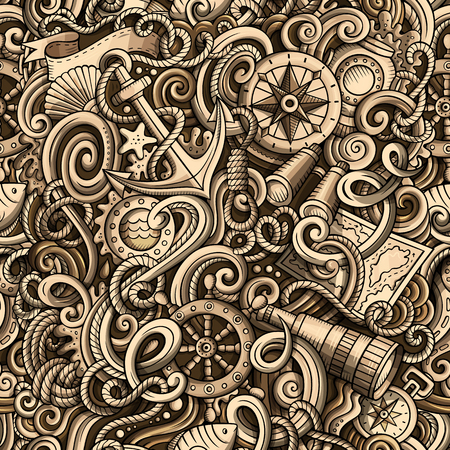 Cartoon hand-drawn nautical doodles seamless pattern Иллюстрация