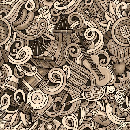 Cartoon hand-drawn picnic doodles seamless pattern Ilustrace