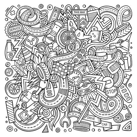 Cartoon cute doodles Autumotive illustration Illustration