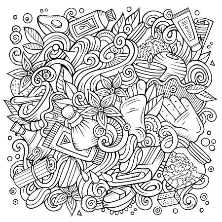 Cartoon cute doodles hand drawn Massage illustration