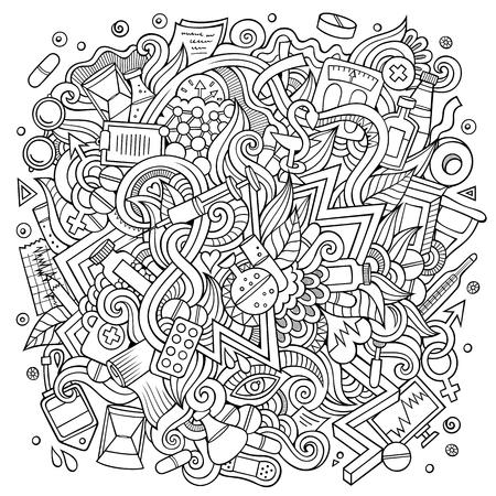 Cartoon cute doodles hand drawn Medical illustration Illustration