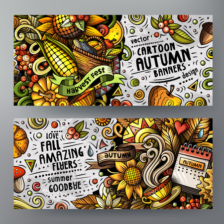 Cartoon cute vector doodles Autumn 2 horizontal banners
