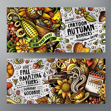 Cartoon cute vector doodles Autumn 2 horizontal banners