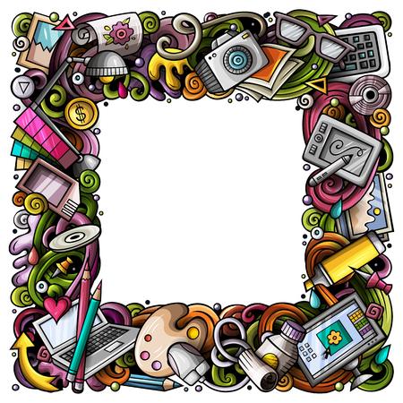 Doodles vecteur de dessin animé Cadre concepteur Banque d'images - 84891156