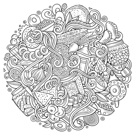 Cartoon cute doodles hand drawn Russian food in circular shape design elements  background illustration