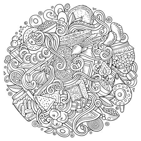 Cartoon niedlich Kritzeleien Hand gezeichnet russisches Essen in kreisförmigen Design-Elemente Hintergrund Illustration Standard-Bild - 84891395