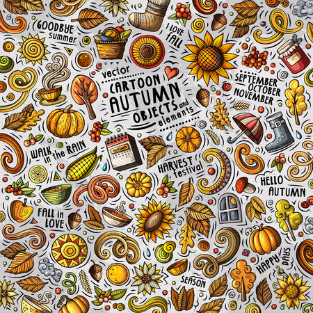 Cartoon cute doodles hand drawn Autumn illustration with lots of objects . Funny vector artwork
