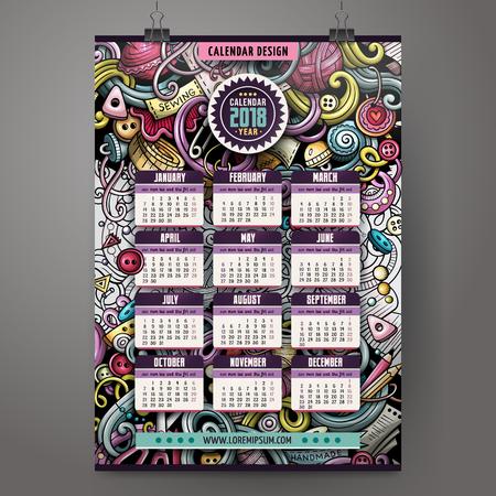 Cartoon kleurrijke hand getekende krabbels Handgemaakte 2018 jaar kalender