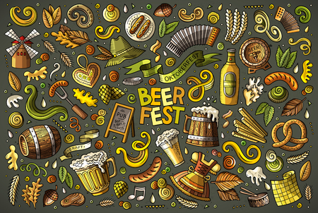Colorful vector hand drawn doodle cartoon set of Oktoberfest theme items, objects and symbols
