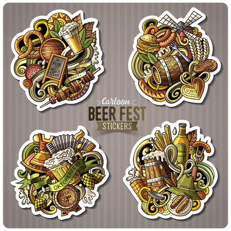bar magnet: Set of Beer fest cartoon stickers