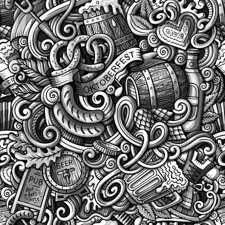 pretzel: Cartoon cute doodles hand drawn Octoberfest seamless pattern. Toned detailed, with lots of objects background. Endless funny vector illustration. Sepia backdrop with beer symbols and items