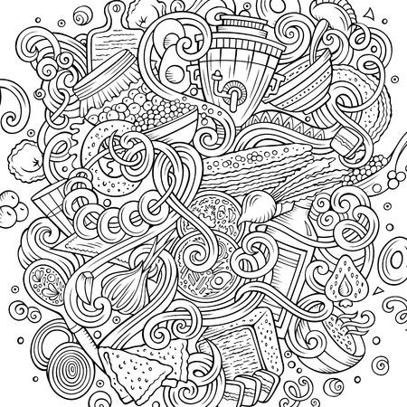 만화 귀여운 낙서 손으로 그려진 된 러시아 음식 그림. 라인 아트, 많은, 배경 개체와 함께 상세한. 재미 있은 벡터 아트웍. 요리 테마 항목으로 된 윤곽