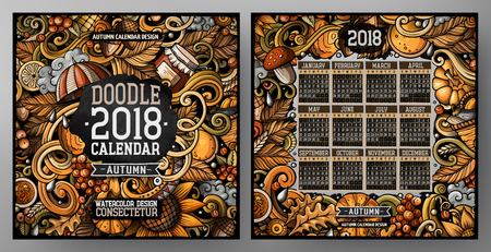 Cartoon colorful hand drawn doodles Autumn 2018 year calendar template. English, Sunday start. Very detailed, with lots of objects illustration. Funny vector artwork.