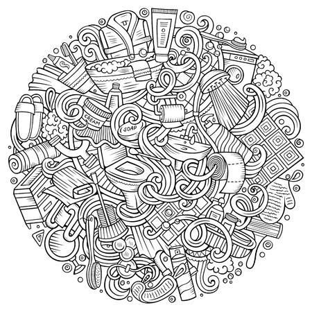 Cartoon schattige krabbels Badkamers lijn kunst illustratie