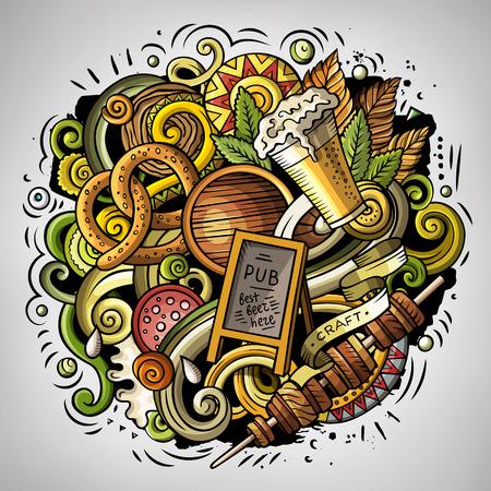 german sausage: Cartoon vector doodles Beer fest illustration