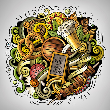 acordeon: Vector de dibujos animados doodles Cerveza fest ilustración