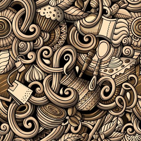 Cartoon hand-drawn doodles of cafe, coffee shop seamless pattern Ilustração