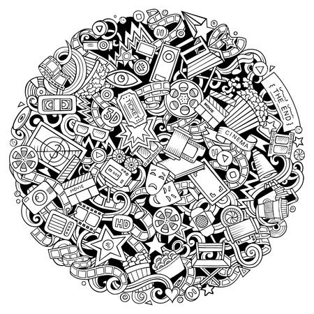 Cartoon vector doodles Cinema illustration Vektorové ilustrace