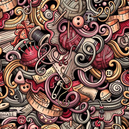 Cartoon cute doodles hand drawn Handmade seamless pattern
