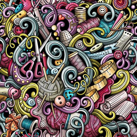 Cartoon cute doodles hand drawn Handmade seamless pattern Stock Vector - 85204658