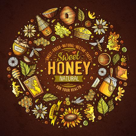 Vector set of Honey cartoon doodle objects Иллюстрация